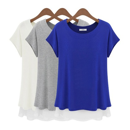 Stiched Women's Scoop Neck Loose Shirt Sleeve T-Shirt Blouse Top